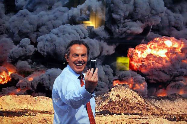 Selfie: Kennard Phillips 'Photo Op' depicts former Prime Minister Tony Blair taking a picture of himself in front of an explosion in Iraq